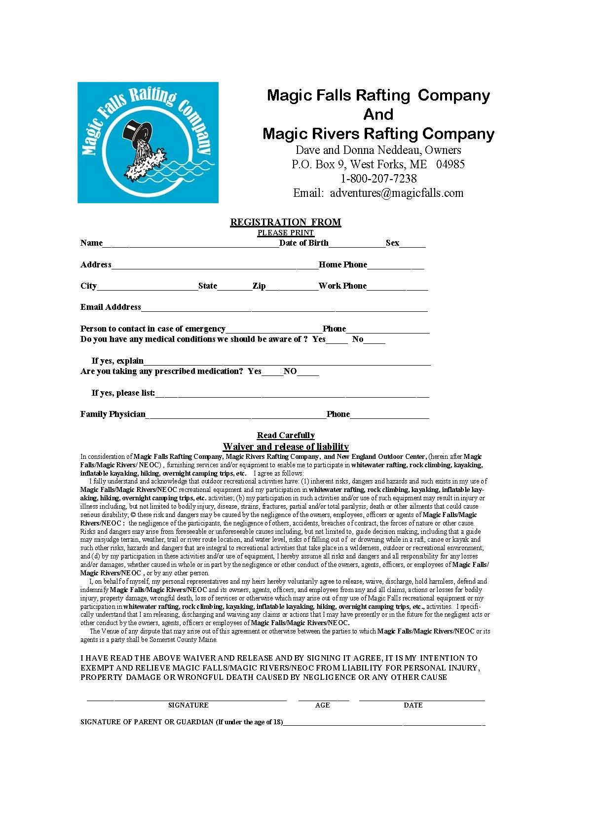 Beautiful Maine Whitewater Rafting Information For Group Leaders New ReleaseW Form2 2 Information  Release Of Personal Information And Personal Information Release Form